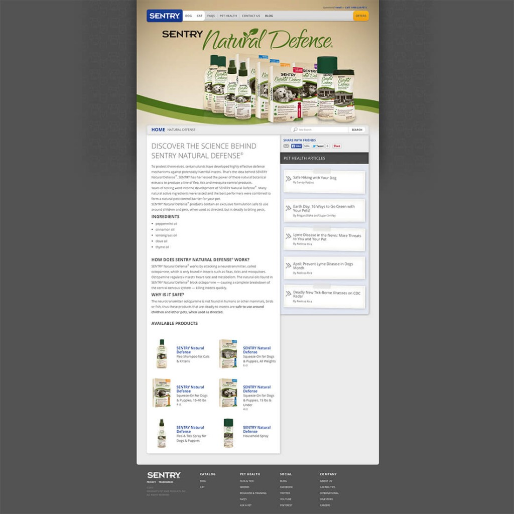 SENTRY Natural Defense Flea and Tick Products – Landing Page