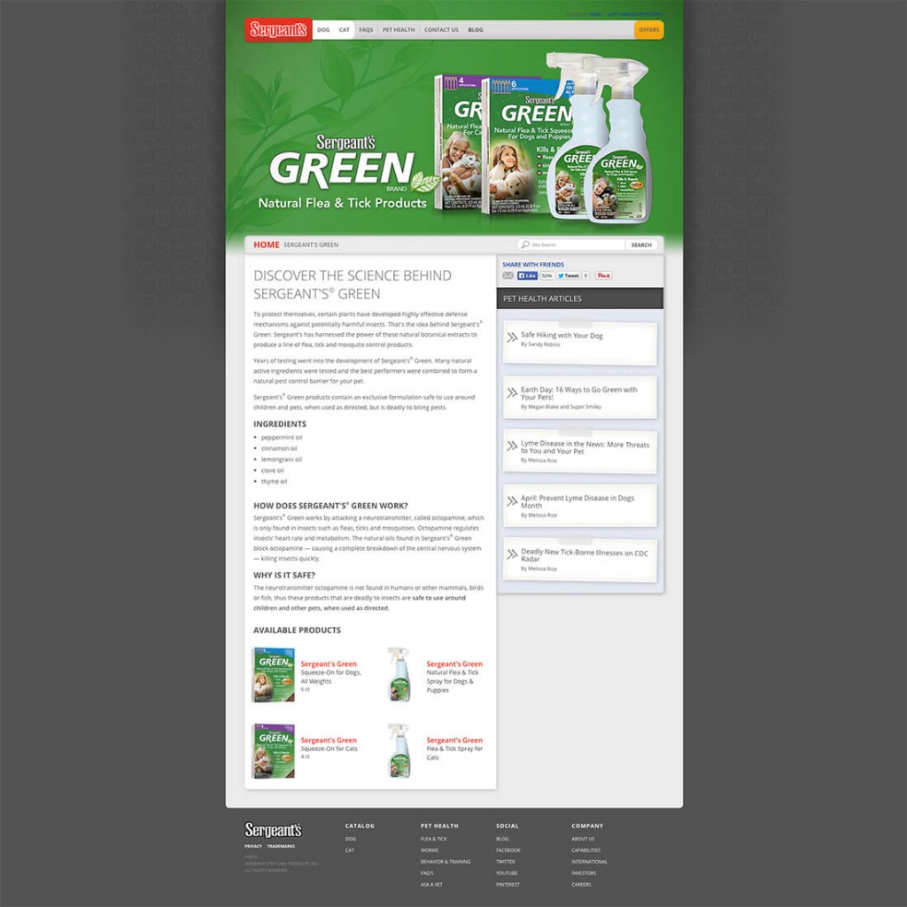 Sergeant's Green Natural Flea and Tick Products – Landing Page